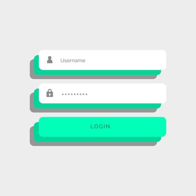 3d-stil design login benutzeroberfläche Kostenlosen Vektoren