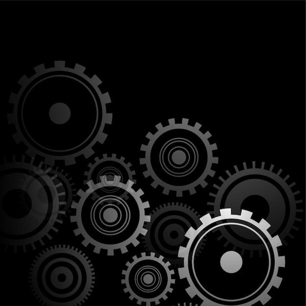 3d-stil zahnradsymbole auf schwarzem design Kostenlosen Vektoren