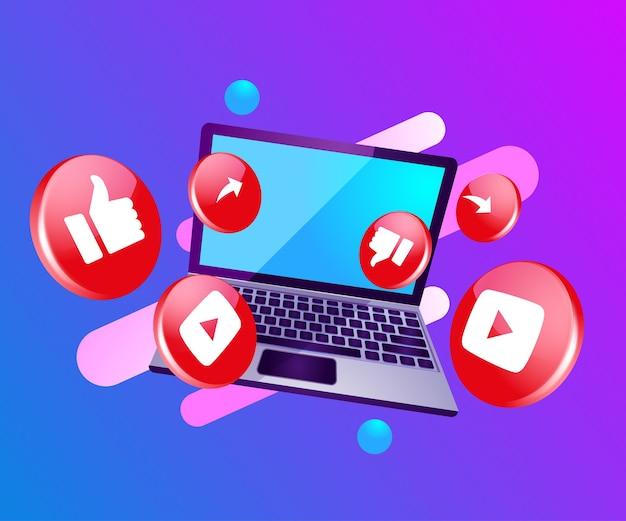 3d-symbol soziale medien mit laptop dekstop Premium Vektoren