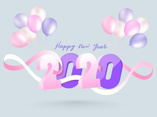 3d text 2020 verziert mit rosa band- und ballonbündel auf grauem hintergrund für guten rutsch ins neue jahr-feiergrußkarte Premium Vektoren