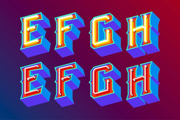 3d vintage buchstaben mit fluoreszierenden neonlichtern und ein / aus-schaltermodus Premium Vektoren