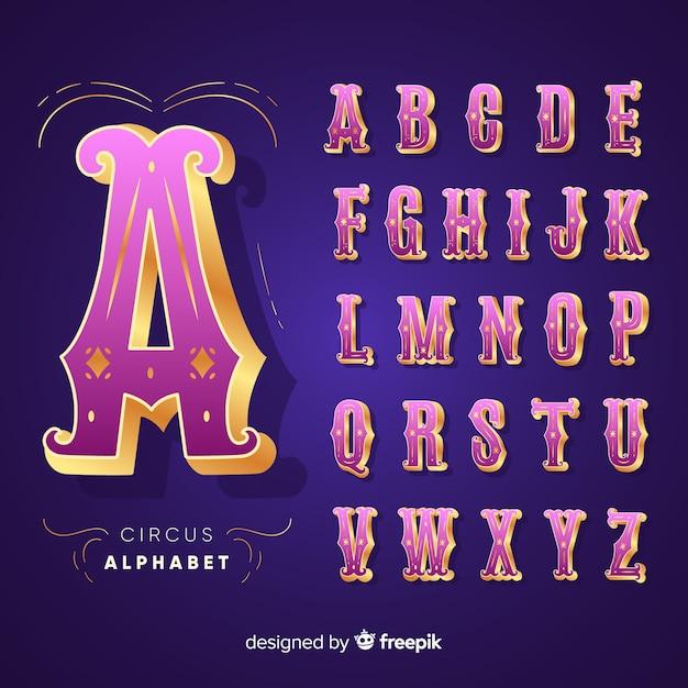 3d zirkus alphabet Kostenlosen Vektoren