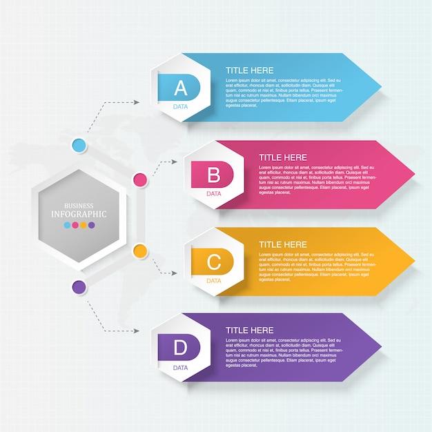 4 element infografik für business-konzept. Premium Vektoren