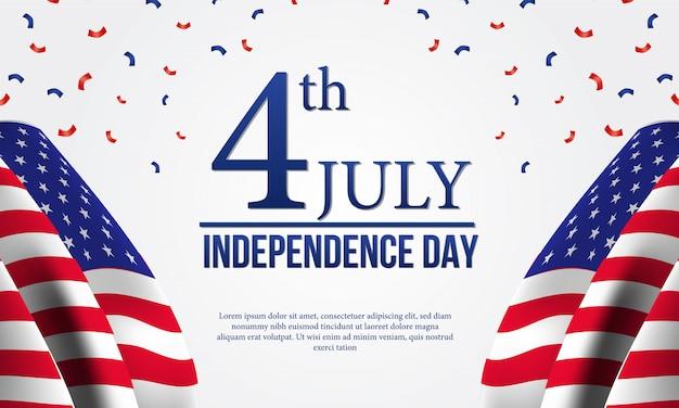 4. juli amerikanische unabhängigkeitstag flyer vorlage mit flagge Premium Vektoren