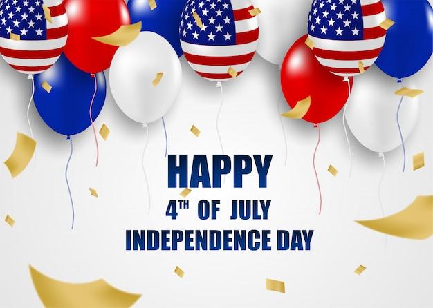 4. juli glücklicher unabhängigkeitstag usa. design mit luftballons .vector. Premium Vektoren