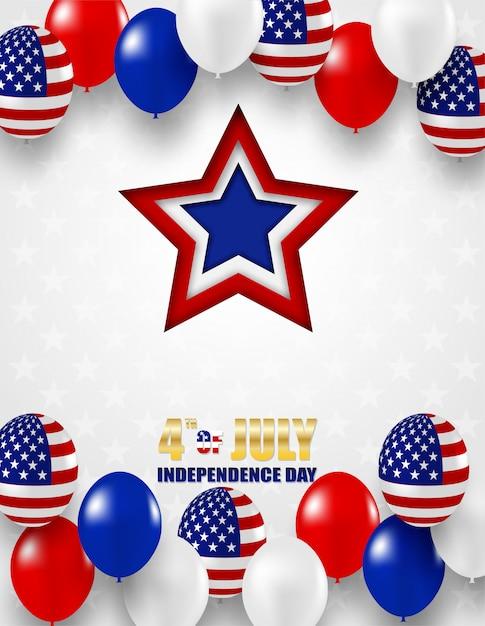 4. juli glücklicher unabhängigkeitstag usa. entwerfen sie mit den weißen, blauen und roten ballonen und dem stern der amerikanischen flagge Premium Vektoren