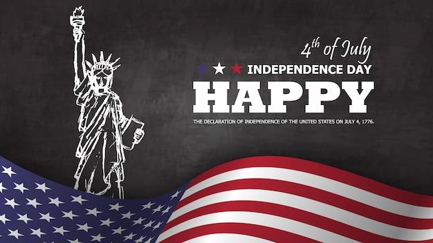 4. juli glücklicher unabhängigkeitstag von amerika. freiheitsstatue zeichnungsdesign mit text und wellenartig bewegender amerikanischer flagge am unteren rand auf tafel Premium Vektoren
