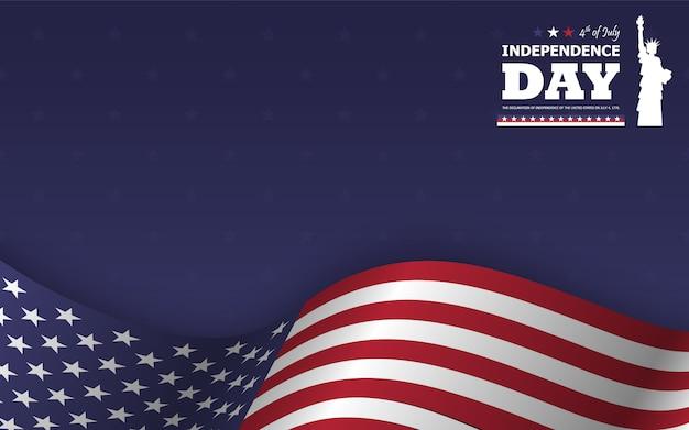 4. juli glücklicher unabhängigkeitstag von amerika-hintergrund. flaches schattenbilddesign des freiheitsstatuen mit text und wellenartig bewegender amerikanischer flagge Premium Vektoren