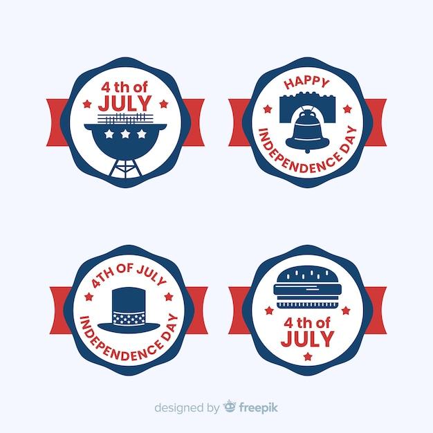 4. juli label-sammlung Kostenlosen Vektoren