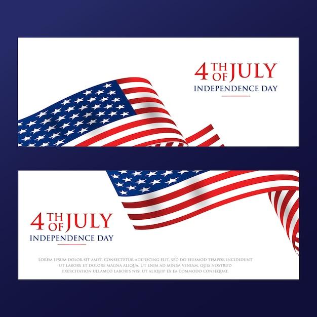4. juli unabhängigkeitstag mit der amerikanischen flagge Premium Vektoren