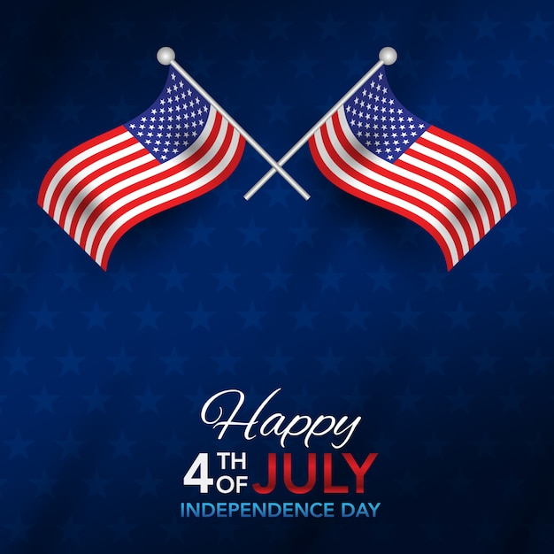 4. juli unabhängigkeitstag mit flagge Premium Vektoren