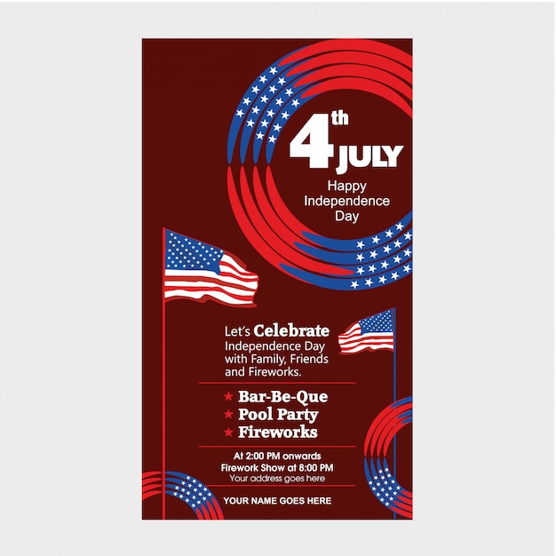 4. juli us independence day einladungsvorlage mit airshow, bike parade und feuerwerk attraktion. Premium Vektoren