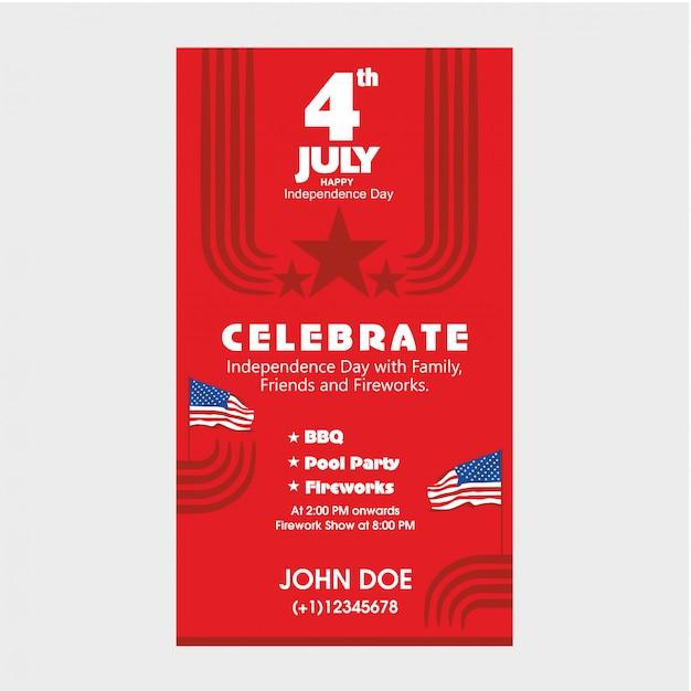 4. juli us-unabhängigkeitstag laden schablone mit bbq, pool-party und feuerwerksanziehungskraft ein. Premium Vektoren