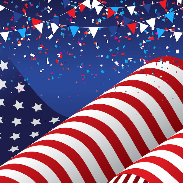 4. juli usa mit amerikanischer flagge Kostenlosen Vektoren