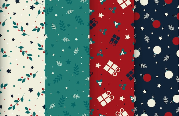 4 niedliche weihnachtliche nahtlose winterzeitmuster Premium Vektoren