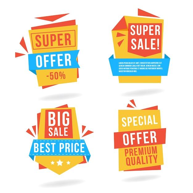 4 Origami-Banner zum Verkauf Kostenlose Vektoren