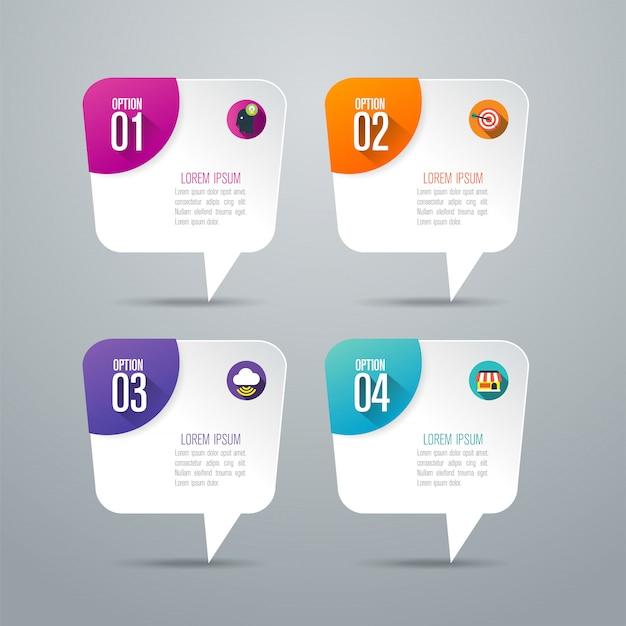 4 Schritte Business Infografik Elemente für die Präsentation Premium Vektoren