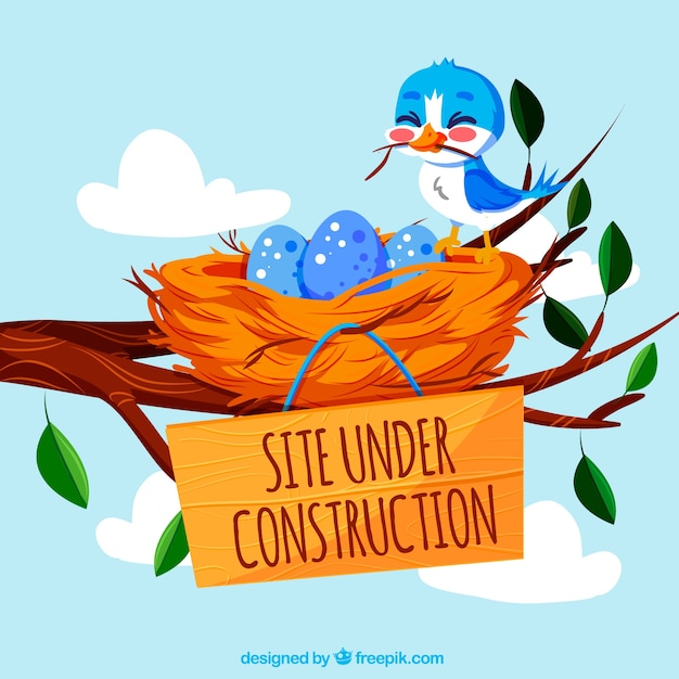 404 Fehler Hintergrund mit einem Vogel und einem Nest Kostenlose Vektoren