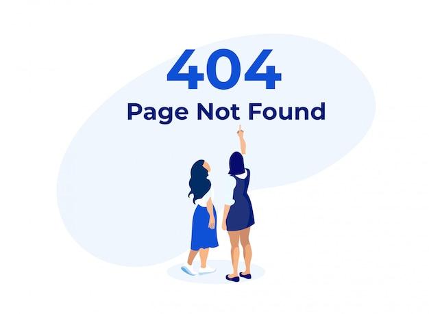 404 fehler mit frauen, die auf warnbanner zeigen. Premium Vektoren