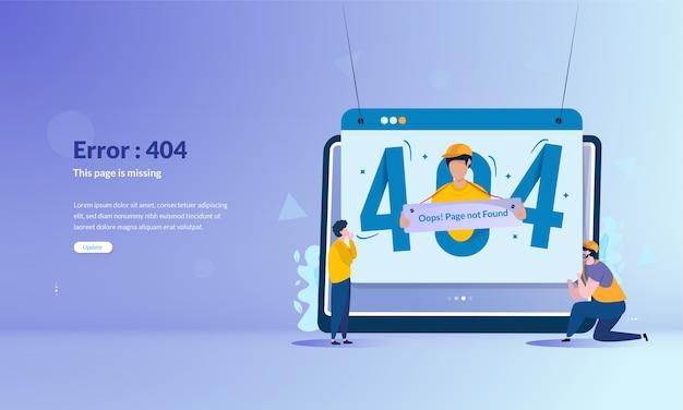 404 fehlermeldungsseite im bannerkonzept nicht gefunden Premium Vektoren