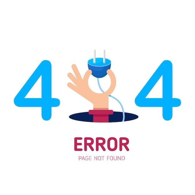 404 fehlerseite nicht gefunden handgriffstecker. Premium Vektoren