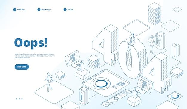 404 isometrische seitenvorlage Premium Vektoren