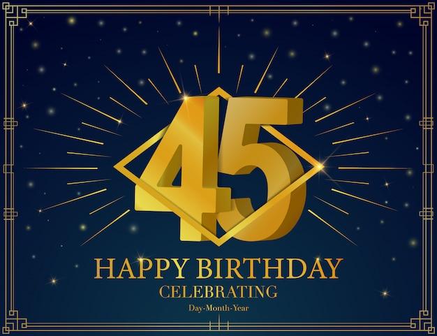 45 alles gute zum geburtstag jubiläum feier grußkarte Premium Vektoren