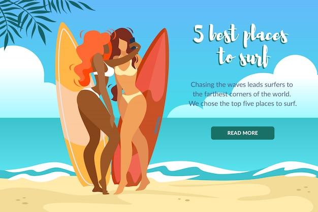 5 besten plätze zum surfen horizontal banner mit sexy girls in bikini posing Premium Vektoren