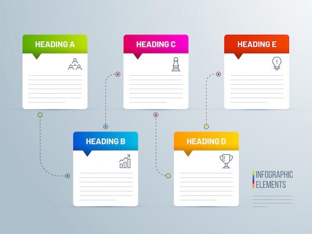 5 ebenen notizzettel stil infografik Premium Vektoren