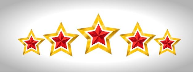 5 goldene sterne Premium Vektoren