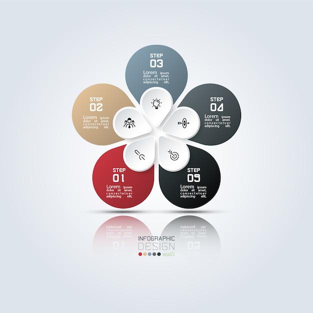 5 schritte bunte ovale infografikschablone. Premium Vektoren