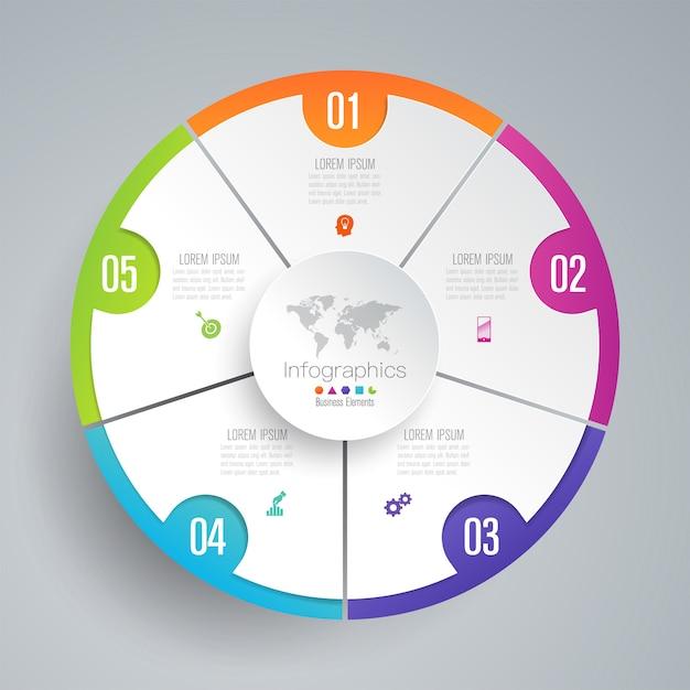 5 schritte business infografik elemente für die präsentation Premium Vektoren