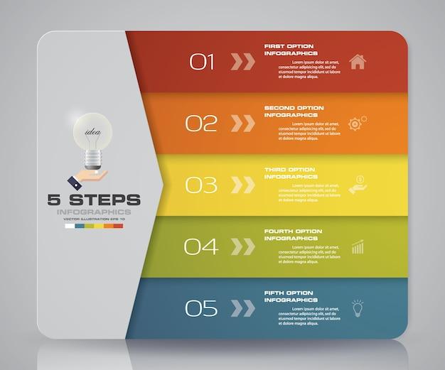 5-schritte-diagramm zur datenpräsentation. Premium Vektoren