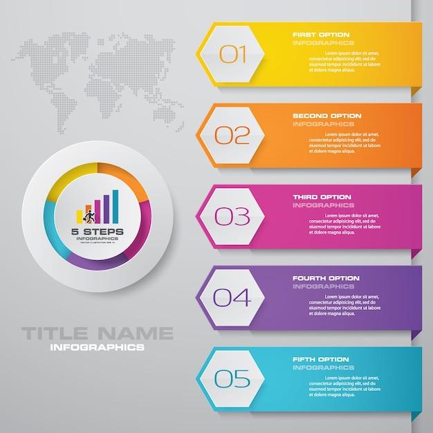 5 schritte einfach & editierbare prozessdiagramm infografiken element. Premium Vektoren