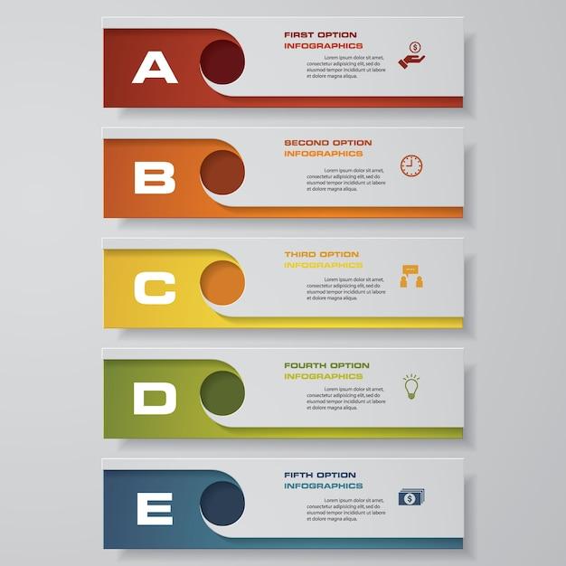 5 schritte infografiken option. Premium Vektoren