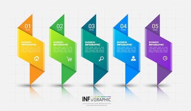 5 schritte infografiken vorlage Premium Vektoren