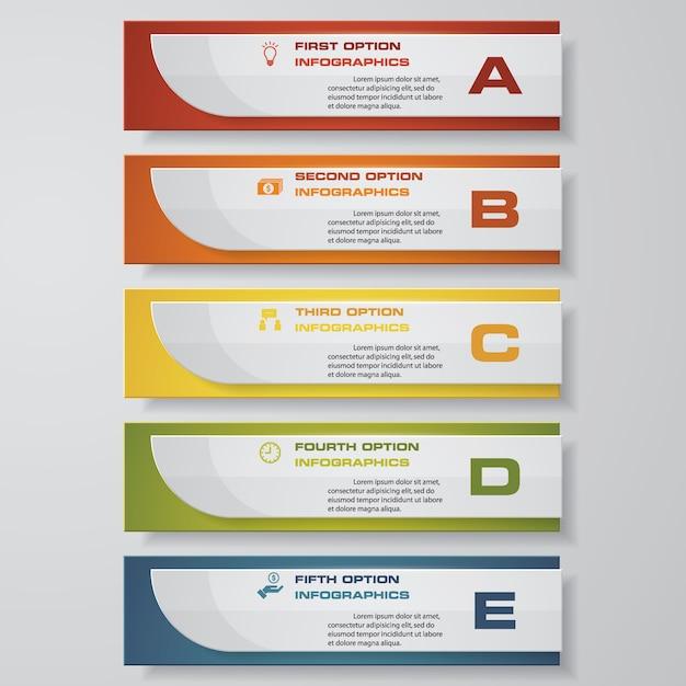5 schritte infographics-elementdiagramm für darstellung. Premium Vektoren