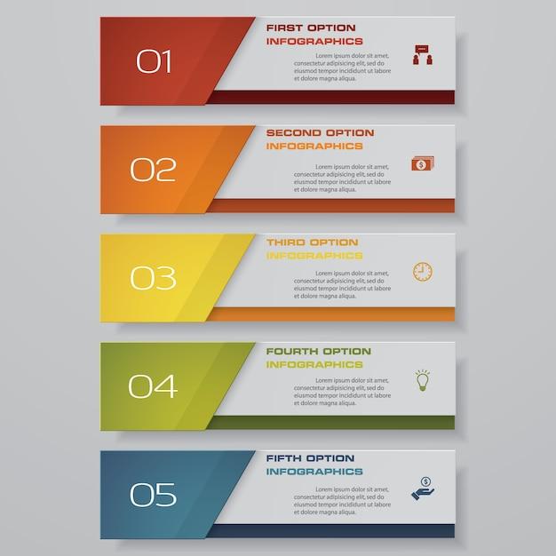 5 schritte option banner für die präsentation. Premium Vektoren
