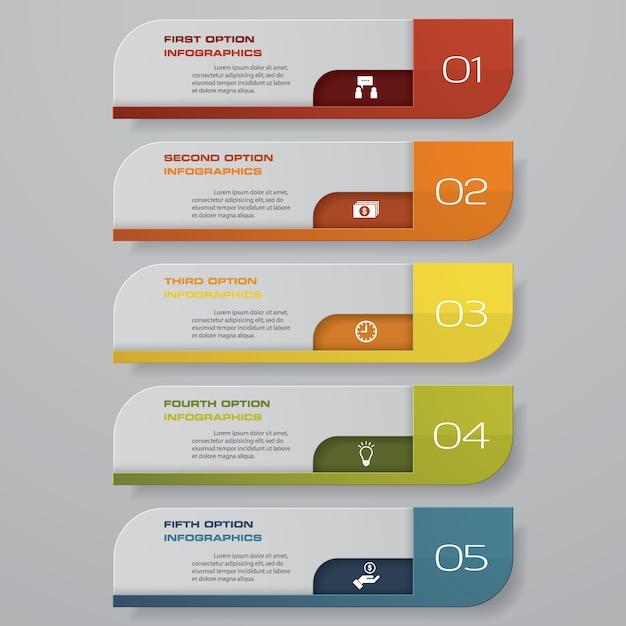 5 schritte optionsbanner für die präsentation. Premium Vektoren