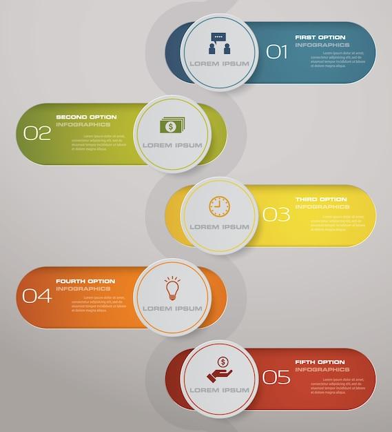 5 schritte verarbeiten abstraktes gestaltungselement. Premium Vektoren