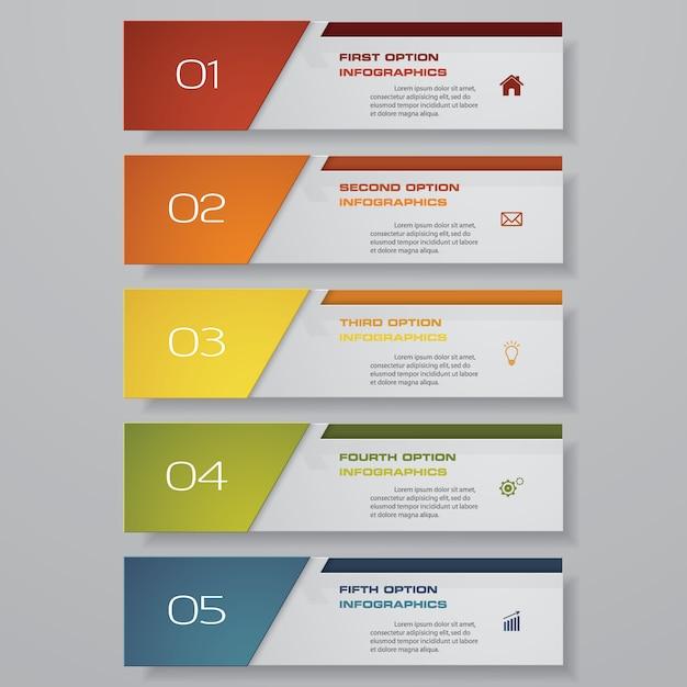 5-stufen-optionsbanner für die präsentation. Premium Vektoren