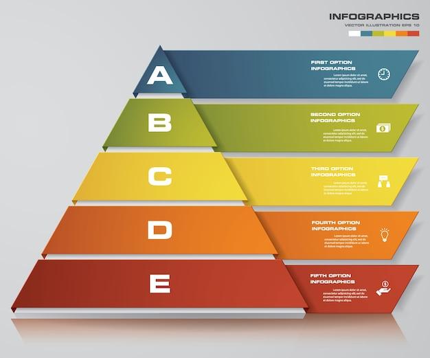 5 stufen pyramide mit freiem platz für text auf jeder ebene. Premium Vektoren