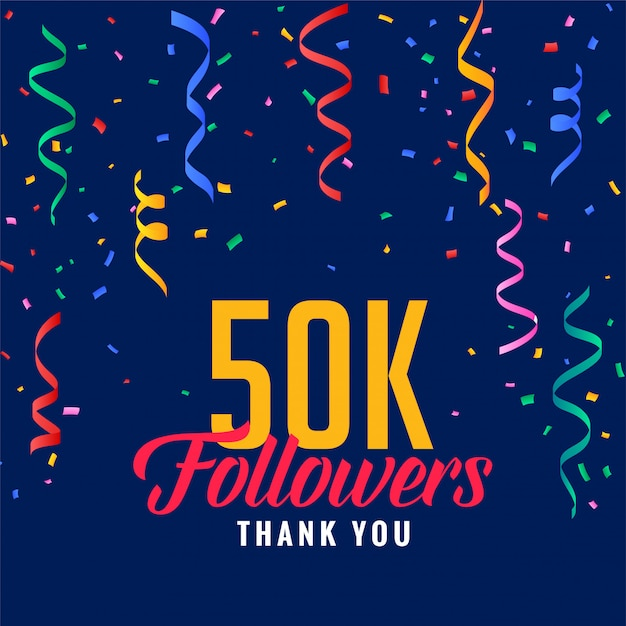 50.000 social media follower feier post mit fallenden konfetti Kostenlosen Vektoren