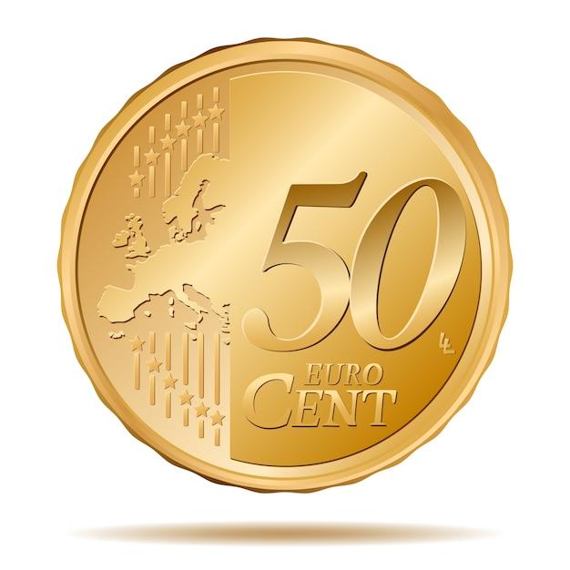 50-cent-münze Premium Vektoren