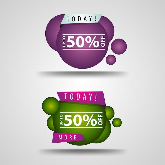 50% rabatt. modernes banner von glatten linien Premium Vektoren