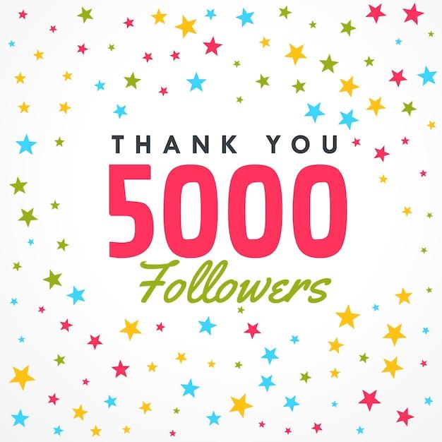 5000 follower erfolg vorlage mit bunten sternen Premium Vektoren