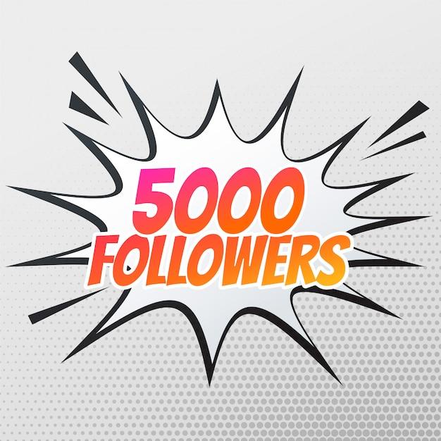 5000 follower-erfolgsvorlage in comic-stil Kostenlosen Vektoren