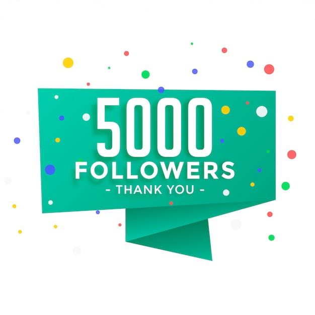 5000 social-media-follower bedanken sich für die post-vorlage Kostenlosen Vektoren