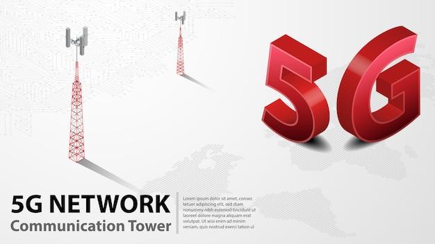 5g communication tower kabelloses hispeed-internet mit rechenzentrum Premium Vektoren