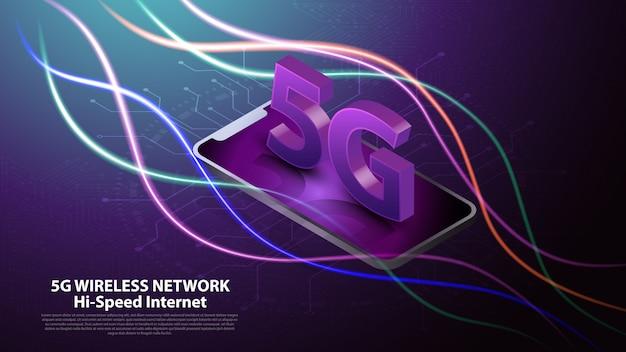 5g drahtlose netzwerktechnologie kommunikation Premium Vektoren